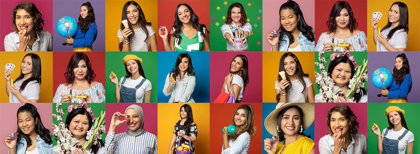 Women smiling with colorful backgrounds